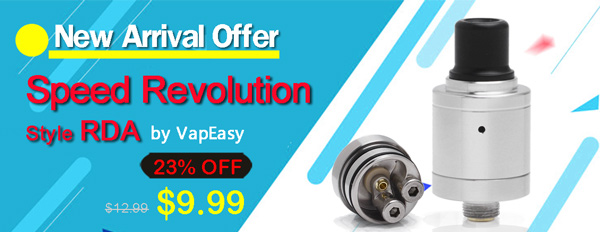VapEasy Speed Revolution Style RDA Rebuildable Dripping Atomizer w/ Bottom Feeder Pin - Silver, 316 Stainless Steel, 18mm
