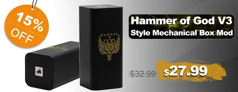 Hammer of God V3 Style Mechanical Box Mod Flash Sale
