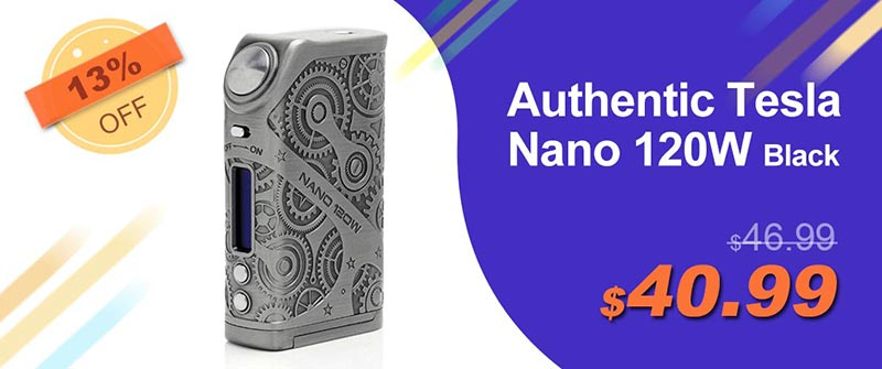 Authentic Tesla Nano 120W TC VW Variable Wattage APV Box Mod - Black, Zinc Alloy, 7~120W, 2 x 18650