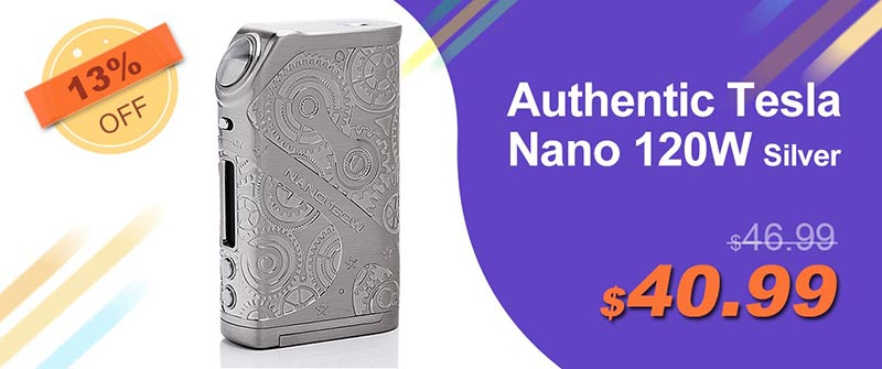 Authentic Tesla Nano 120W TC VW Variable Wattage APV Box Mod - Silver, Zinc Alloy, 7~120W, 2 x 18650