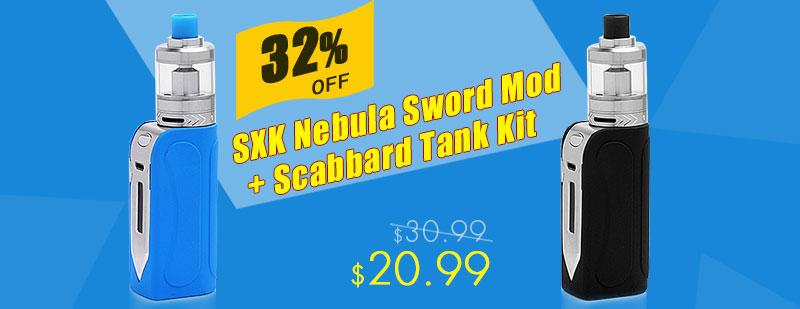 Authentic SXK Nebula Sword 50W 1500mAh TC VW Variable Wattage Mod + Scabbard Tank Kit