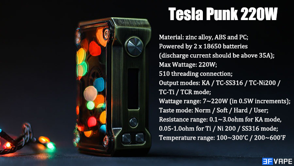 Authentic Tesla Punk 220W Box Mod