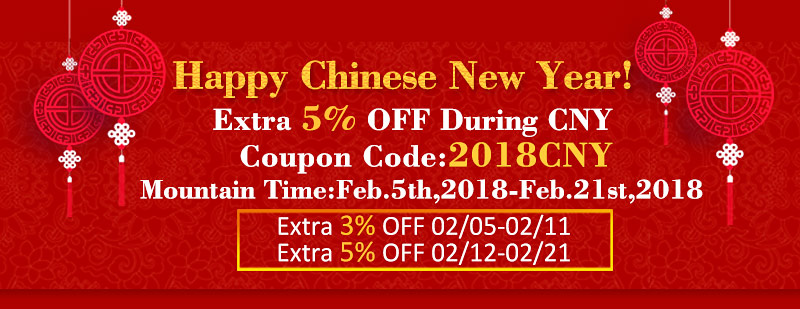 Happy Chinese New Year! Up To Extra 5% Off Sitewide!