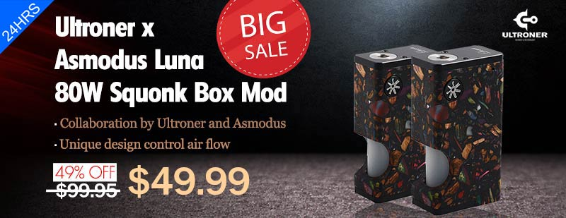 Ultroner x Asmodus Luna 80W Squonk Box Mod - Black Mosaic