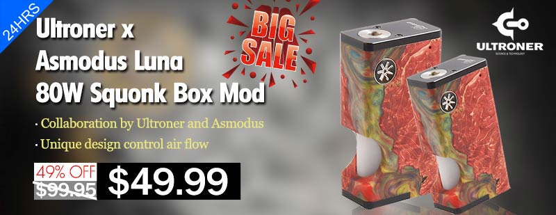 Ultroner x Asmodus Luna 80W Squonk Box Mod - Red