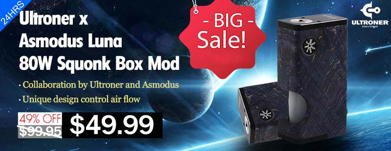 Ultroner x Asmodus Luna 80W Squonk Box Mod - Blue