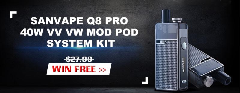 Sanvape Q8 Pro 40W VV VW Mod Pod System Kit Giveaway
