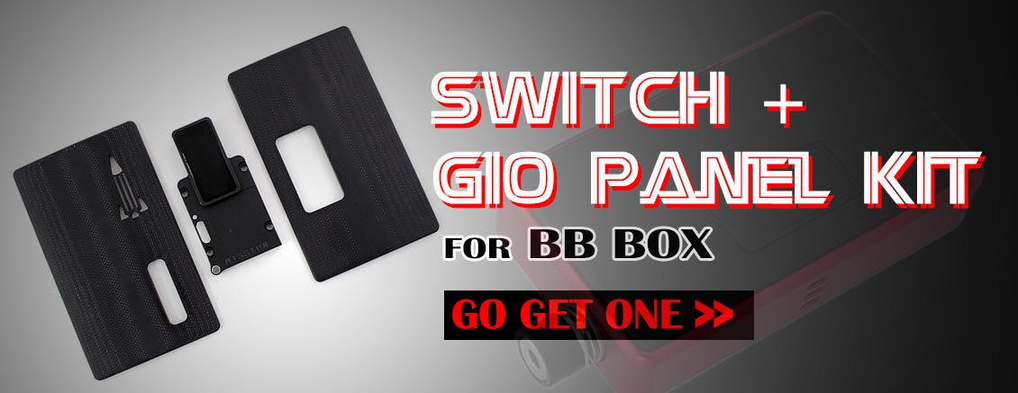 SXK Mission Style Replacement Switch + Black & Front Panel Kit for SXK BB Style / Billet DNA60 60W Mod Kit