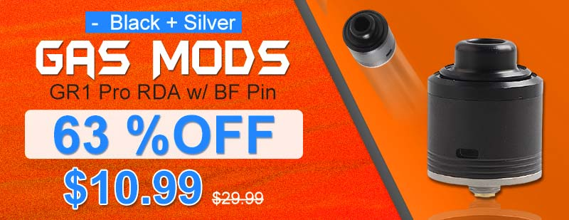 Gas Mods GR1 Pro RDA w/ BF Pin - Black + Silver, 24mm