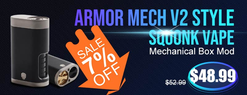Armor Mech V2 Style Squonk Vape Mechanical Box Mod Full Black Flash Sale