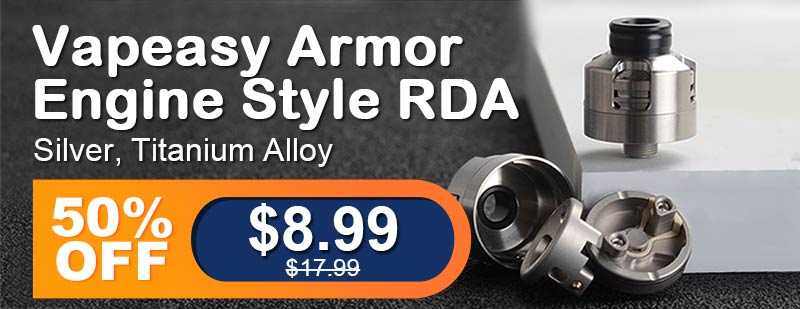 Vapeasy Armor Engine Style RDA Silver Titanium Alloy Flash Sale