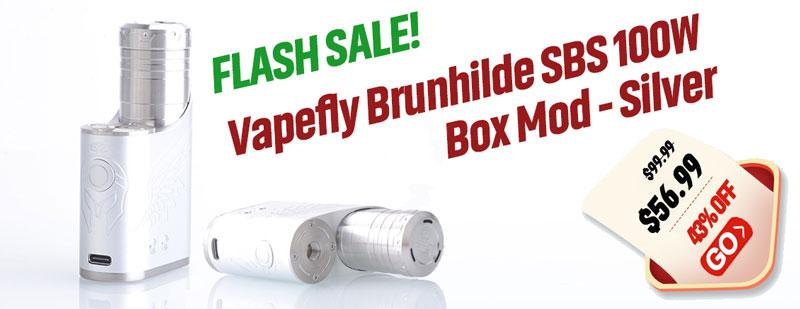 Vapefly Brunhilde SBS 100W Box Mod Silver Flash Sale